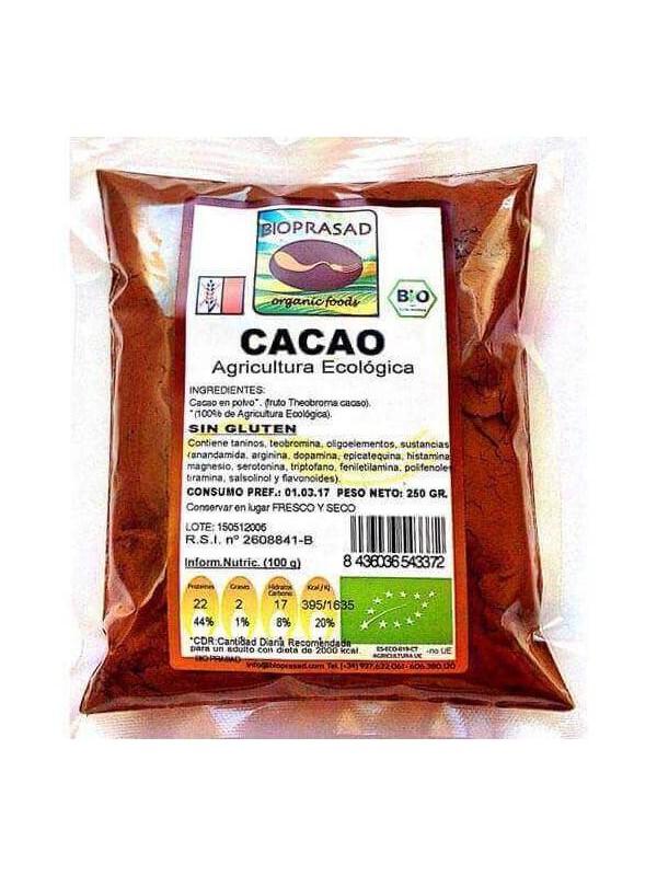 CACAO EN POLVO SIN GLUTEN 250GR BIO - BIOPRASAD - 8436036543372