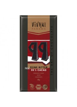 CHOCOLATE NEGRO 99% 80GR BIO - VIVANI - 4044889002904