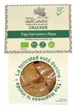 CRACKER TRIGO SARRACENO & PIPAS ECO 125GR - DELICATALIA - 8410575600628
