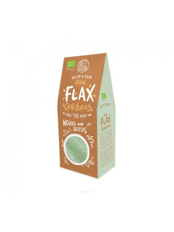 BIO RAW FLAX CRACKERS HIERBAS Y SEMILLAS 90GR - DIET FOOD - 5906395147946