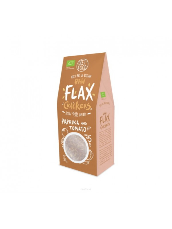 BIO RAW FLAX CRACKERS PIMIENTO Y TOMATE 90GR - DIET FOOD - 5906395147939