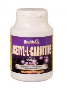 **ACETIL L-CARNITINE 550MG 30 CAPSULAS - HEALTH AID - 5019781022373