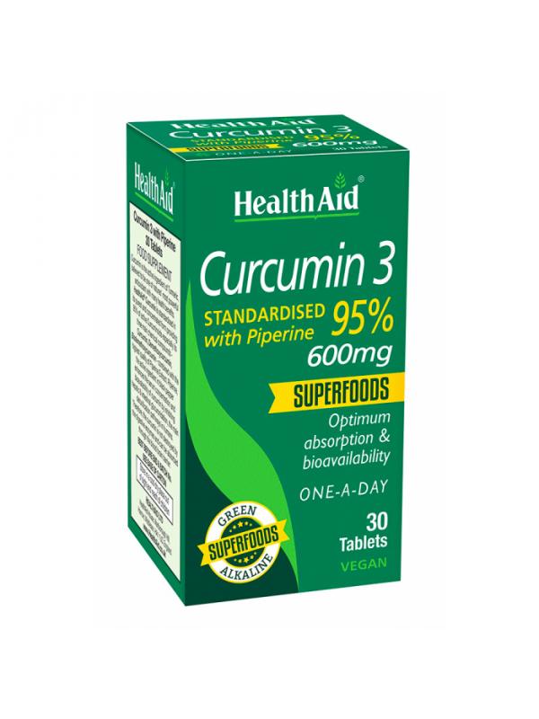 CURCUMIN 3 95% 30 COMPRIMIDOS - HEALTH AID - 5019781017195