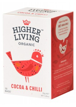 INFUSION DE CACAO & CHILI 15 BOLSITAS 30GR BIO - HIGHER LIVING - 5060319120139
