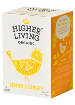 INFUSION DE JENGIBRE & LIMON 15 BOLSITAS 30GR BIO - HIGHER LIVING - 5060319120177