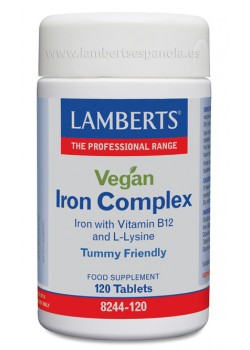 VEGAN IRON COMPLEX 120 TABLETAS - LAMBERTS - 5055148412760