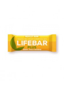 **LIFEBAR PLUS CHOCOLATE CON FRUTOS ROJOS Y MACA 47GR BIO - LIFEFOOD - 8594071484590