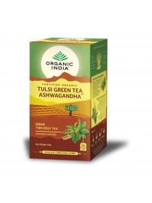 TULSI GREEN TEA ASHWAGANDHA 25 BOLSITAS BIO - ORGANIC INDIA - 801541514892