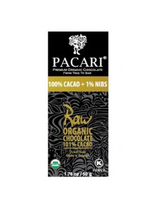 CHOCOLATE RAW 100% CACAO + 1% NIBS 50GR BIO - PACARI