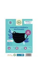 MASCARILLA HIGIENICA REUTILIZABLE INFANTIL L TALLA 10-12 COLOR NEGRO - SOL NATURAL - 8435037805816