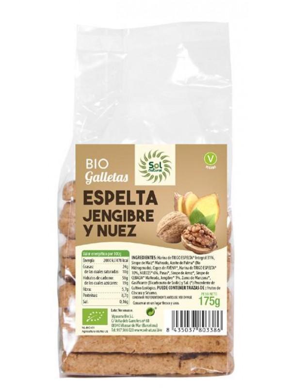 GALLETAS ESPELTA JENGIBRE Y NUECES BIO 175GR - SOL NATURAL - 8435037803386