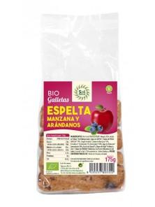 GALLETAS ESPELTA MANZANA Y ARÁNDANOS BIO 175GR - SOL NATURAL - 8435037803300