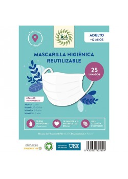 MASCARILLA ALGODON ORGANICO HIGIENICA REUTILIZABLE ADULTO COLOR BLANCO XL - SOL NATURAL - 8435037805762