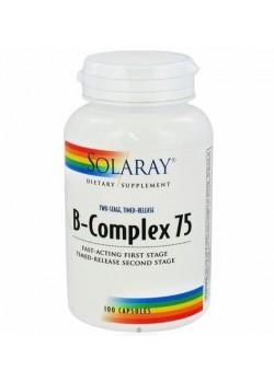 B-COMPLEX 75 ACCION RETARDADA 100 CAPSULAS - SOLARAY - 076280196689