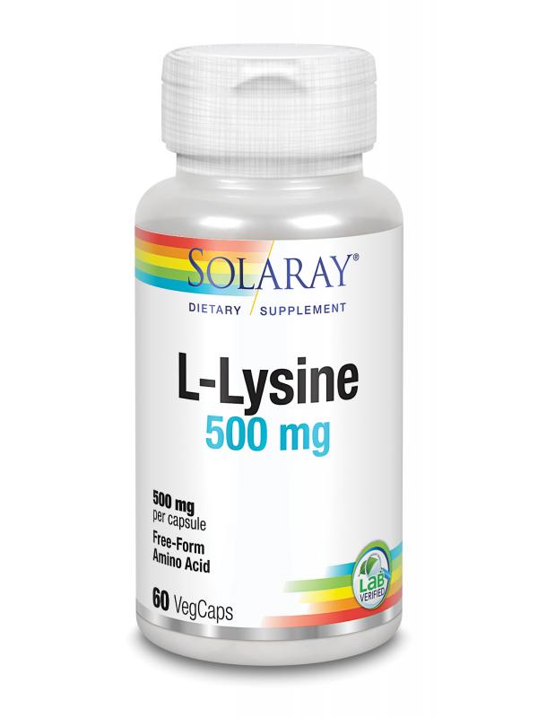 L-LYSINE 500MG 60 CAPSULAS - SOLARAY - 076280206647